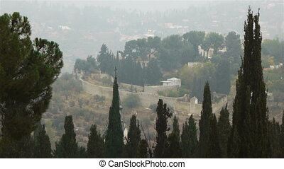 Panoramic view to Jerusalem from Ein Kerem disctrict, time...