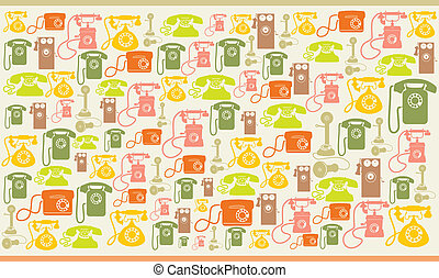 Vintage telephones colorfull background