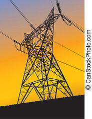 Transmission line silhouette at sun