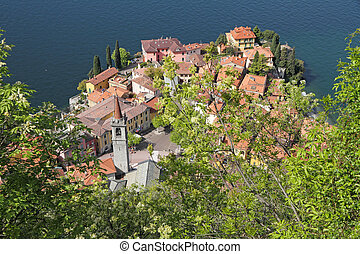 Varenna village on lake Como seen from the hill and castle...