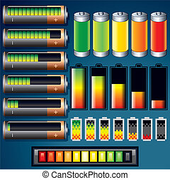 Vector Batteries Design Icons