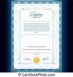 Diploma, plantilla, clásico
