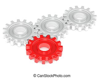 Gears Turning Together, One in Red - Rendered artwork with...