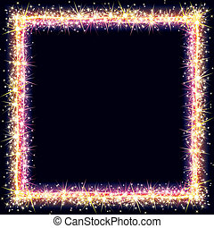 Frame Sparks - Bright Frame with Sparkles and Flares Vector...