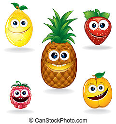 Funny Fruits A - Set of Funny Vector Fruits. Cartoon Serie