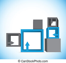 Background with cubes - Background with blue and gray cubes...