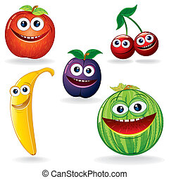 Funny Fruits B - Set of Funny Vector Fruits. Cartoon Clip...