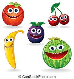 Funny Fruits B - Set of Funny Vector Fruits. Cartoon Clip...