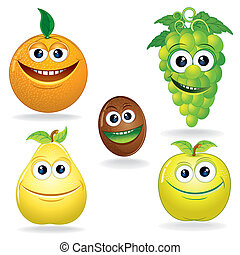 Funny Fruits C - Set of Funny Vector Fruits Cartoon Clip Art...
