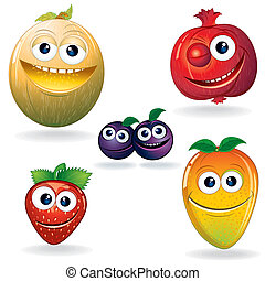 Funny Fruits D - Set of Cute Cartoon Vector Fruits. Clip Art...