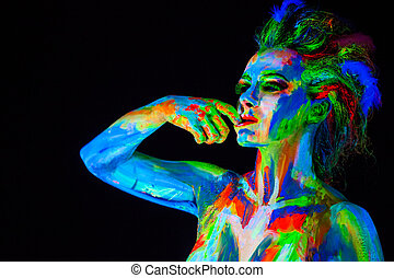 Woman's, face, bodyart