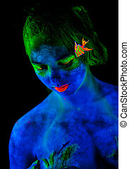 Womans face with bodyart - Womans face with fluorescent...