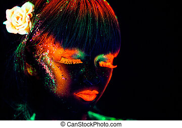 Woman's face with bodyart - Woman's face with fluorescent...