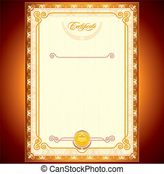 Golden Certificate - Blank Golden Certificate. Template or...