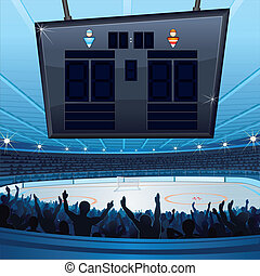 Hockey Stadium Background with Empty Scoreboard for your...