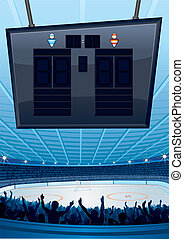 Ice Hockey Background - Ice Hockey Stadium with Scoreboard...