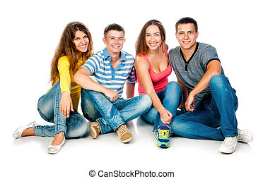 group of young people on a white background