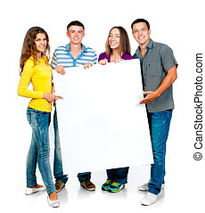 group people with banner - group of young people with a...