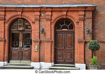 victorian double door entrance