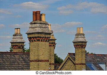 Group of old residential chimneys