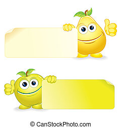 Pear with Apple - Happy Apple and Pear. Cartoon Fruits with...
