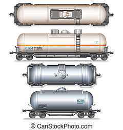 Railroad Tank Car - Railroad Gasoline and Oil Tank Set...