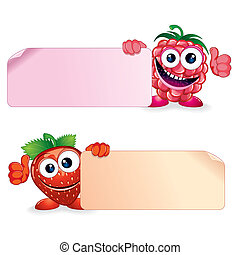 Raspberry with Srawberry - Cute Vector Fruits. Raspberry and...