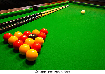 pool billiards table - A green cloth billiards or pool table...
