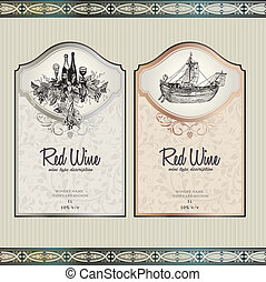 Set of wine labels - Vector illustration - set of wine label...