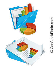 Folder And Papers With Charts - Vector illustration of...