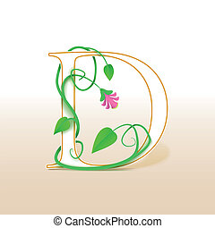 Letter D with an vintage floral pattern - Letter D with an...