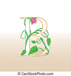 Letter B with an vintage floral pattern - Letter B with an...