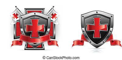 Templar emblem, cross, shield, sword and ribbon, vector...