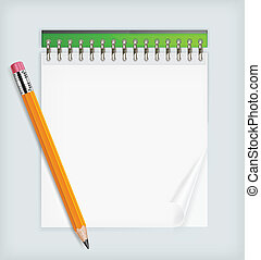 Pencil and notebook - Wooden sharp pencil and notebook...