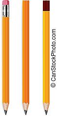 Three pencils - Three wooden sharp pencils isolated on white...