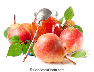 Ripe red pear and pear jam