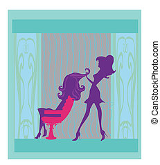 Vector illustration of the beautiful woman in hairdressing...