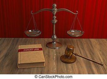 Legal attributes: gavel, scale and law book