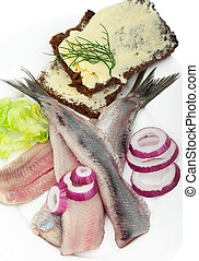 typical Dutch herring - Portion of typical Dutch herring on...