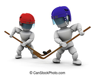 Ice hockey players - 3D render of ice hockey players