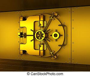Gold vault - 3D render of a golden bank vault