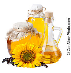 Sunflower oil in bottles.