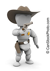 Sheriff - 3D render of a sheriff pointing a gun