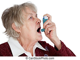Senior woman with asthma inhaler, isolated on white