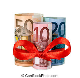 80 euro with red ribbon - Rolled up eighty euro with red...