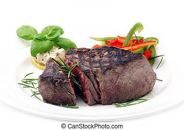 Grilled Beef Filet with seasonal vegetables and Rosemary