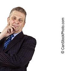 Close-up of a senior businessman smiling