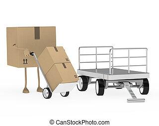 package figure offload trolley - brown package figure...