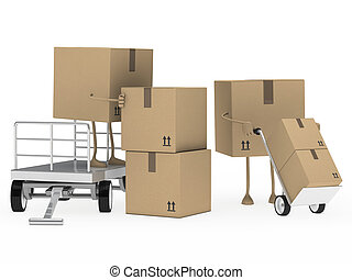 packages figure unload trolley - brown packages figure...