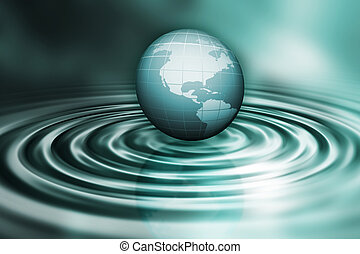Globe on water ripples - 3D render of a globe on water...